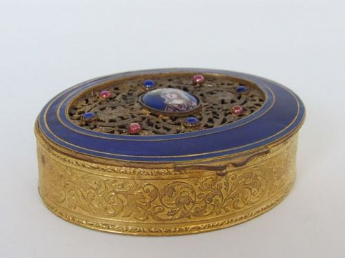 French Gilded Bronze Blue Enamel Trinket Box with Portrait