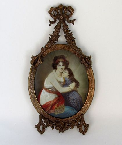 Antique French Miniature Self Portrait Painting Lebrun with Daughter