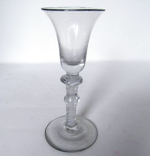 Georgian Double Knopped Double Series Air Twist Wine Glass c1750