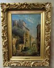 19th C Antique Oil on Canvas Painting of Venice, Italy