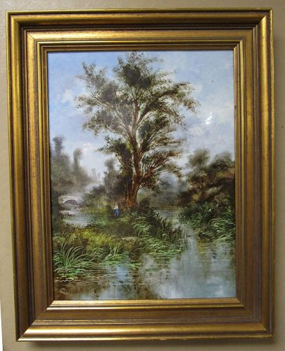 Continental Porcelain Painting Landscape River Scene, Signed