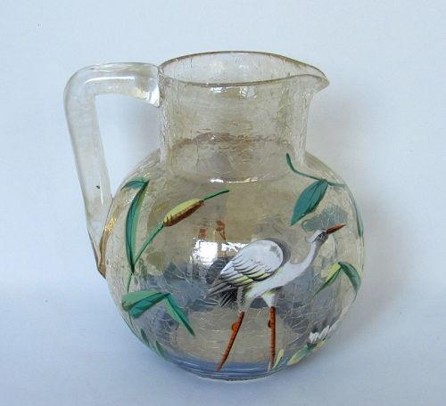 Moser Champagne Crackle Glass Pitcher with Enameled Heron