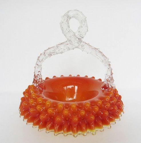 Boston & Sandwich Glass Tomato Candy Basket Thorn Handle