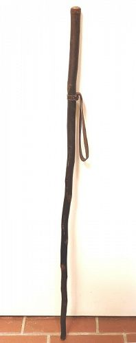 Classic Folk Art Walking Stick Cane with Leather Strap