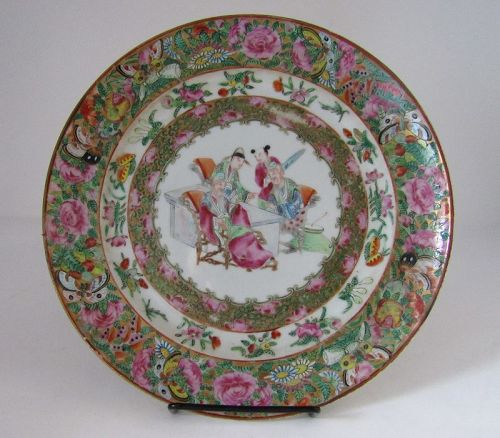 Chinese Porcelain Export Rose Mandarin Medallion Plate with Scholars
