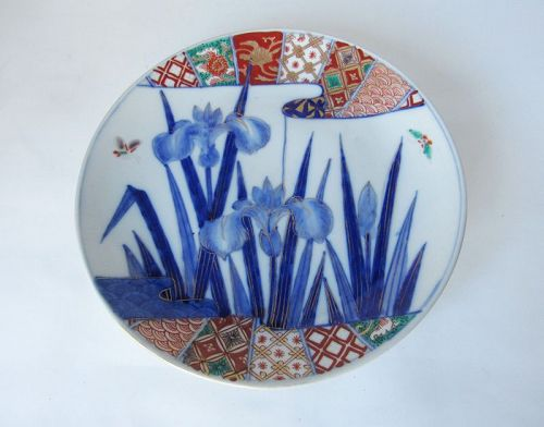 Japanese Porcelain Imari Plate with Iris, Meiji