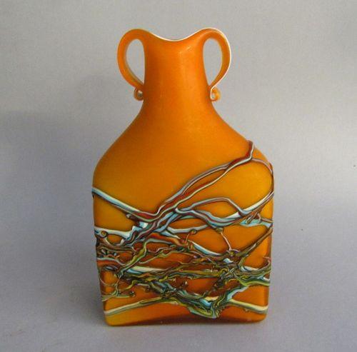 Vintage Azerbaijan Glassware Art Glass Orange and Turquoise Vase