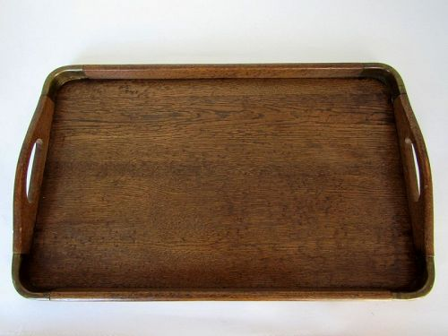 Edwardian Oak Serving Galley Tray with Brass Mounted Corners