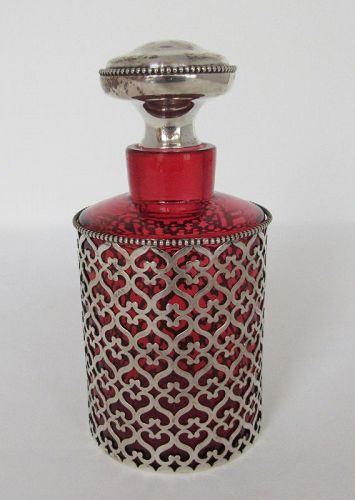 Antique American Sterling Overlay Cranberry Glass Perfume Bottle