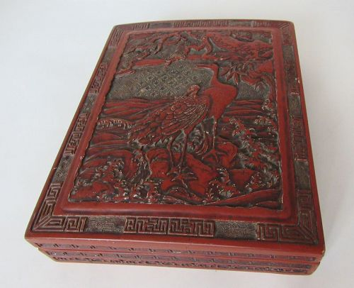 Japanese Red Lacquer Stationary Writing Box with Cranes