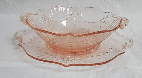 Lancaster Glass Depression Dart Pink Bowl and Underplate