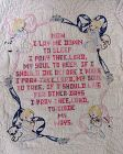Embroidered Child's Prayer Sampler Crib Quilt with Children Pets