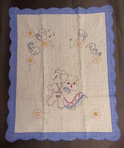 Baby's Crib Quilt with Singing Bluebirds, Children, Morning Glories