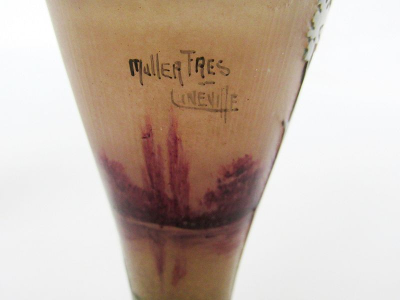 French Muller Fres Art Nouveau Etched Miniature Cameo Glass Vase