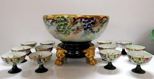 Limoges Porcelain Punch or Center Bowl on Stand & 12 Goblets