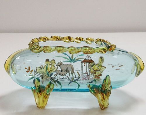 19th C Stevens and Williams Art Glass with Nursing Lamb Farm Scene