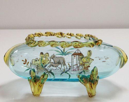 19th C Stevens and Williams Art Glass with Nursing Lamb Farm Scene