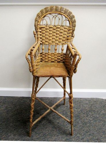 Antique Victorian Woven Reed and Wicker Doll High Chair