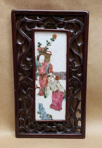 Chinese Framed Porcelain Famille Rose Plaque