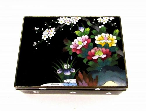 Japanese Black Inaba Hinged Cloisonne Box Flowers