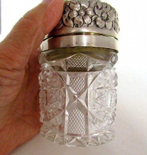 Antique Cut Glass Sterling Silver Repousse Jar, Hamilton Dresinger