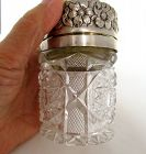 Antique Cut Glass Sterling Silver Repousse Jar, Hamilton Dresinger