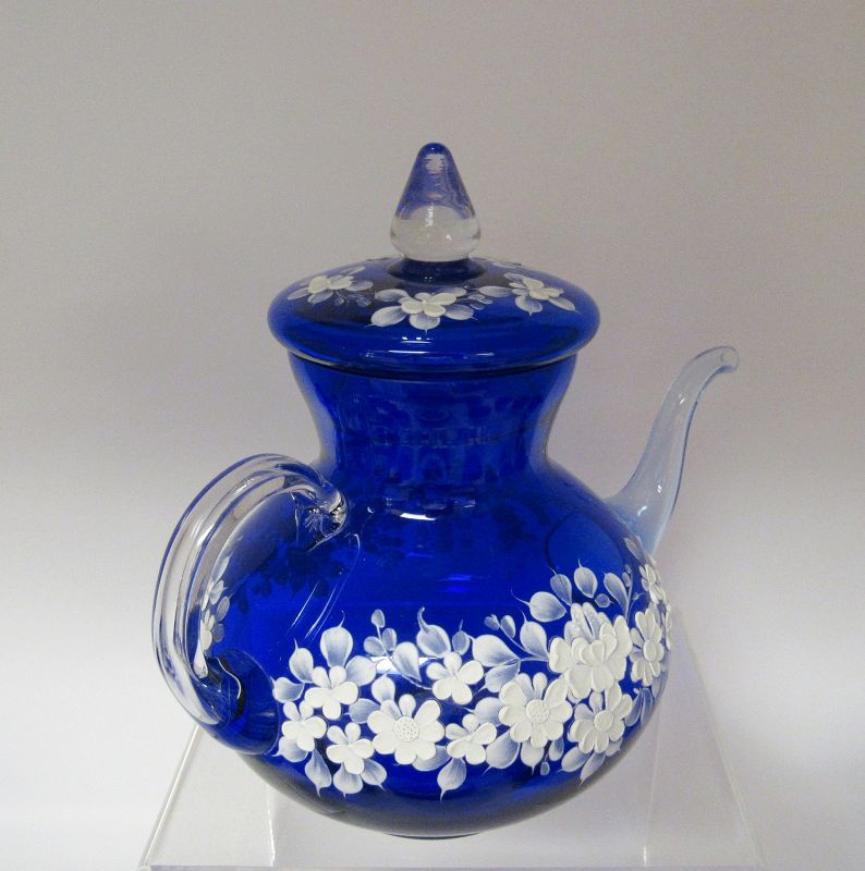 Venetian Murano Cobalt Blue Glass White Flowers Tea Set