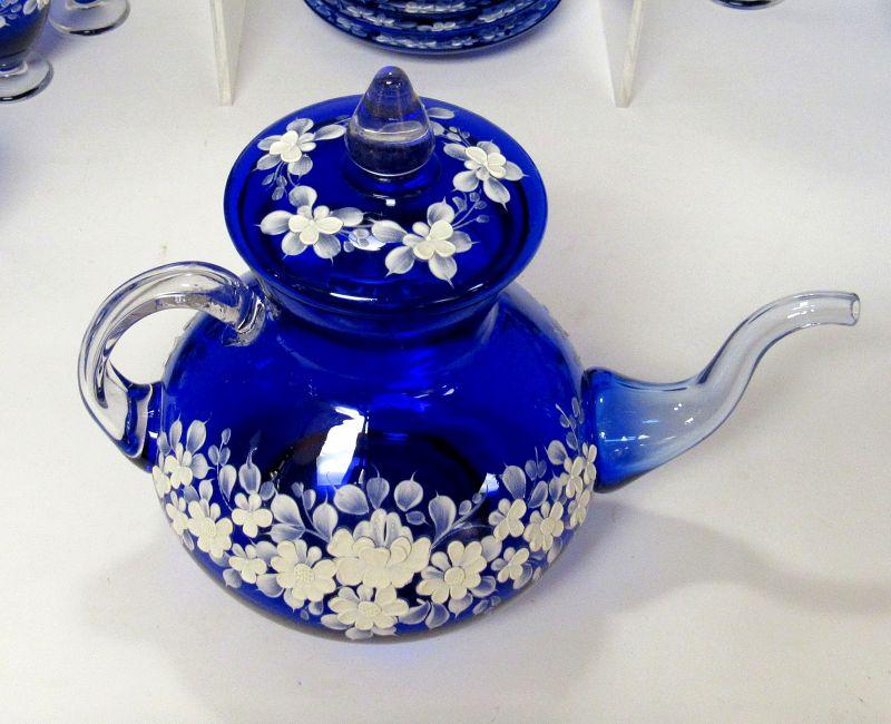 Venetian Murano Cobalt Blue Glass White Flowers Tea Set