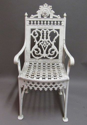 Taggart Gothic Revival White Cast Iron Garden Patio Chair