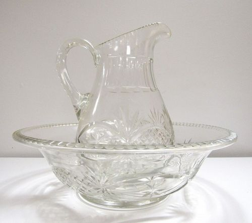 Early 19th C Antique American Cut Glass Wash Bowl and Pitcher