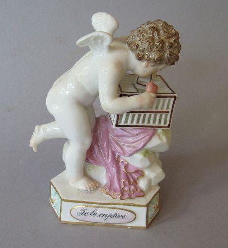 """Antique Meissen """"Love Captive"""" Porcelain Figurine Heart Cage"""