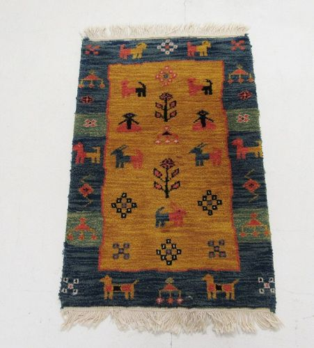 Vintage Handmade Kilim Geometric Animal Pictorial Tribal Rug