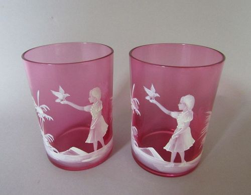 Mary Gregory Cranberry Glass with White Enamel Girl