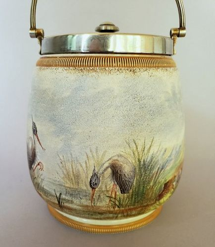 Taylor Tunnicliffe Co Tapestry Ware Biscuit Jar with Cranes and Quail