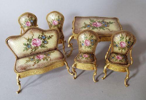 Miniature Continental Gold Vermeil and Guilloche Enamel Furniture