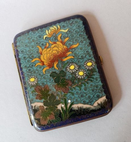 Japanese Meiji Era Cloisonne Cigarette Case or Card Case, Meiji Era