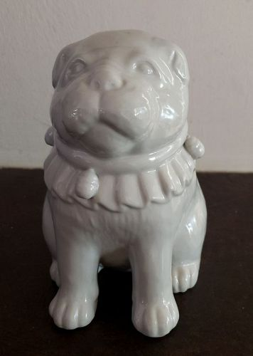 Japanese Hirado White Porcelain Puppy Dog Figurine, Meiji Era