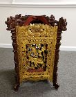 Qing Dy Chinese Red and Gold Wood Carved Palace Lantern