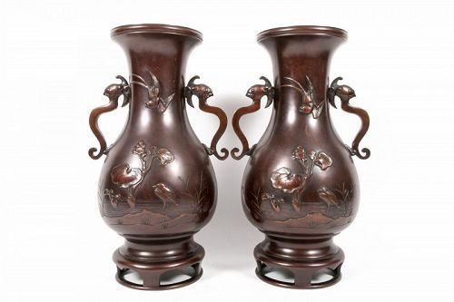 Pair of Bronze Meiji Era Japanese Vases with Birds