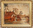 Late 19th C American Pennsylvania Silk Embroidery Landscape Scene