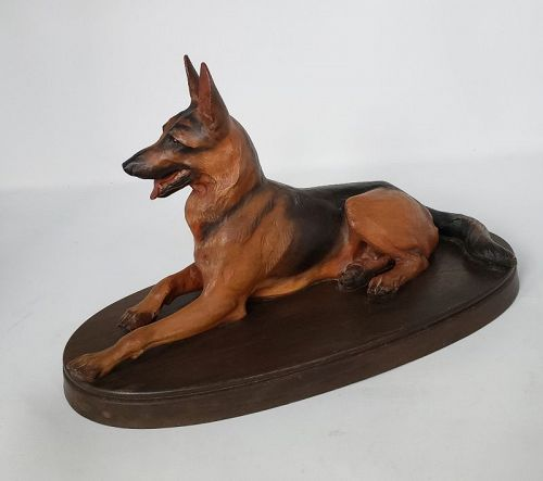 Vintage Anri Italy Hand Carved Wood German Shepard Dog by H. Diller