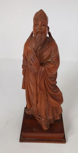 Antique Chinese Boxwood Statue of Poet Scholar Li Bai