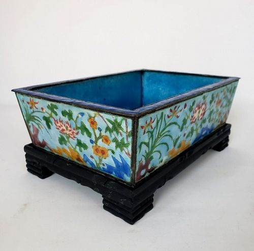 Old Chinese Canton Export Enamel Rectangular Planter on Stand