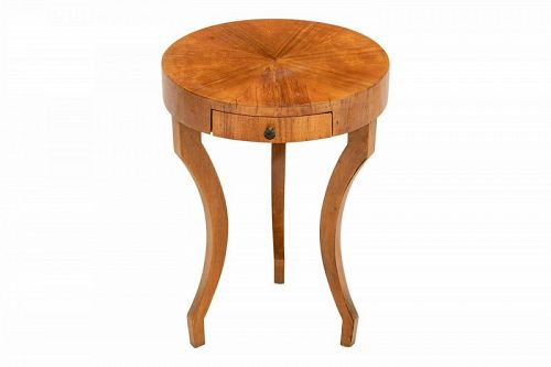 Antique Biedermeier Walnut Round Side Table with Drawer