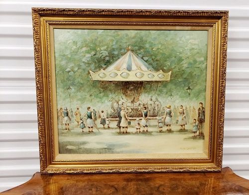French Impressionist Jean Daumier Oil on Canvas Painting
