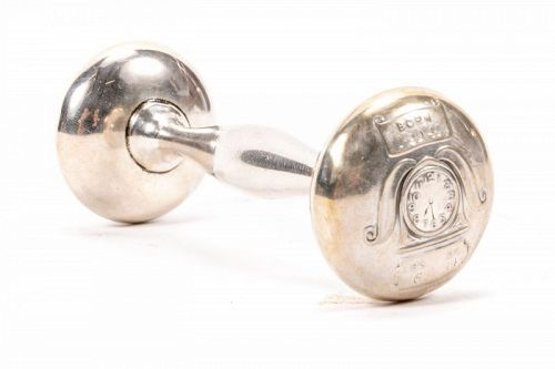Old Sterling Silver Dumbbell Baby Rattle with Clock