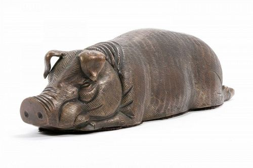Chinese Bronze Reclining Pig Statue for Dept 56 Store Display