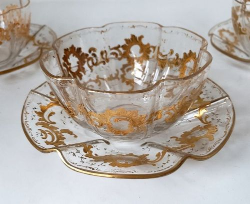 Antique Moser Glass Fluted Bowls and Underplates Gold Gilt