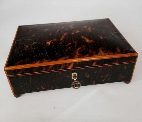 19th C Tortoise Shell Jewelry Keepsake Table Box with Key