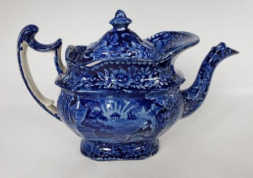 Dark Blue Staffordshire Teapot Lafayette at Franklin's Tomb